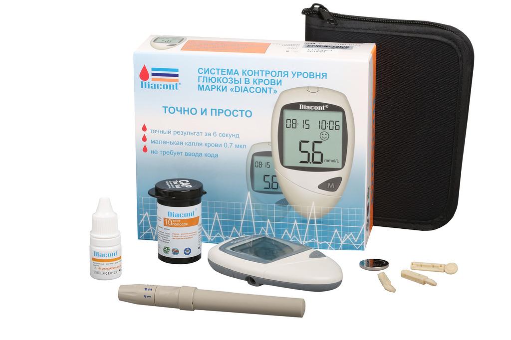 """фото 1 - Система контроля глюкозы в крови марки """"Diacont"""" с принадлежностями."""